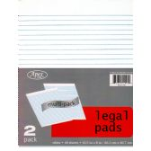 """48 of Legal Pads, 8""""x10.5"""", 2pk, 40 sheets each, White"""