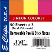 72 of Sticky Notes, Neon Rainbow, 3Pk, 50 shts each (2 inners of 36)