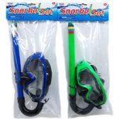 "24 of 13.5"" SNORKEL&GOGGLE SET IN POLY BAG W/HEADER, 4ASSRT CLRS"