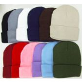 144 of Thick Winter Beanie Hats - Assorted Colors
