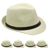 24 of TAN AND WHITE FEDORA HAT WITH BLACK BAND