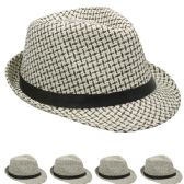 24 of BLACK AND WHITE FEDORA HAT