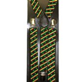 96 of BLACK SUSPENDERS WITH GREEN LEAVES