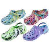48 of Ladies Tie Dye Garden Shoes Assorted Color