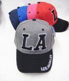 "72 of ""LA"" Base Ball Cap In Assorted Colors 2 Tone"