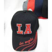 """48 of """"LA"""" Base Ball Cap In Assorted Colors With Design On Bill"""