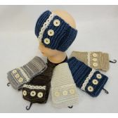 24 of Hand Knitted Ear Band [Antique Lace with 3 Buttons]**LOOP**