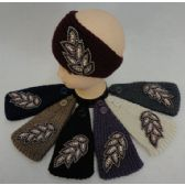 12 of Hand Knitted Ear Band [Jeweled Leaf]