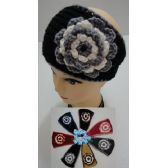 24 of Hand Knitted Ear Band [Two-Color Flower]