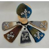 12 of Wide Hand Knitted Ear Band [Large Rhinestone Cross]