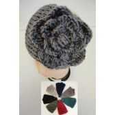 12 of Wider Hand Knitted Ear Band w/ Flower [Metallic Accent]