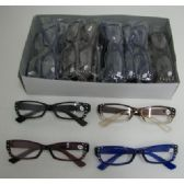 120 of Reading Glasses-Wide Rim with Rhinestones