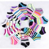 120 of Assorted Prints Womens Cotton Blend Ankle Socks
