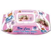 72 of New Care baby wipes With Lid Pink