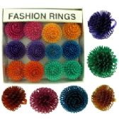36 of Silver tone adjustable ring with assorted colored swirled balls