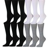 180 of Womens Solid Color Knee High Socks Black White Gray
