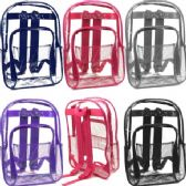 24 of Clear Backpacks Assorted Colors