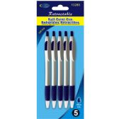 48 of Retractable Pen 5pk, Blue Ink