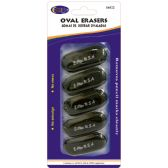 24 of Oval Shaped Erasers 5 Count - Black