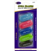 24 of Oval Shaped Erasers 5 Count - Assorted Colors