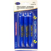 48 of Permanent markers, double tip: chisel & bullet, 3 pk., blue ink