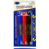 48 of Permanent markers, double tip: chisel & bullet, 3 pk., blue, black & red ink
