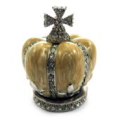 10 of Silver tone and tan enamel crown shaped jewelry holder