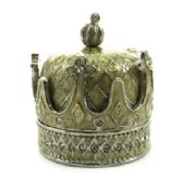 10 of Silver tone and tan enamel crown shaped jewelry holder with diamond like rhinestone accents