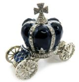 10 of Silver tone and navy blue enamel crown attached to a coach (base)