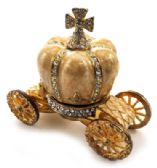 10 of Gold tone and tan enamel crown attached to a coach (base)