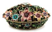 10 of Floral filigree designed jewelry box with enamel coloring