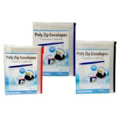 36 of Poly zip envelope, 10x13, assorted colors