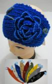 24 of Hand Knitted Ear Band w/ Beaded Flower & Leaves