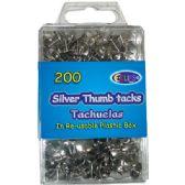 48 of Thumb tacks, silver, 200 ct., reusable box