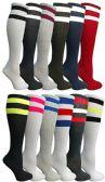 180 of Womens Referee Knee High Socks, Neon Striped Colorful Cheerleader Sock