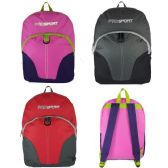 """24 of 17"""" Sport Backpacks In 3 Colors - Case of 24"""