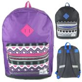 """24 of 17"""" Backpacks In Purple and Black Colors - Case of 24"""