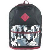 "24 of 17"" Backpacks In Black / Camo Design - Case of 24"