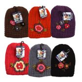 48 of Womens Winter Knit Hat With Floral Rhinestones