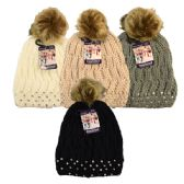 24 of Winter Pom Pom Hat with Rhinestones Assorted Colors