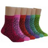 480 of Girls Patterned Crew Socks