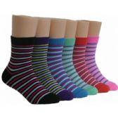 480 of Girls Striped Crew Socks