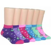 480 of Girls Heart Print Low Cut Ankle Socks