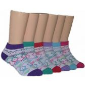480 of Girls Tribal Print Low Cut Ankle Socks