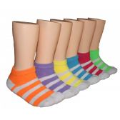 480 of Girls White Sripe Low Cut Ankle Socks Size 6-8