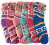 120 of Warm Soft Fuzzy Socks with Snow Flakes Assorted