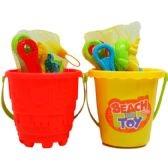 "48 of 5.5"" BEACH TOY BUCKET W/ ACCSS IN NET BAG, 2 ASSRT"