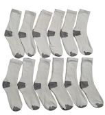 12 of Yacht & Smith Kids Cotton Crew Socks With Gray Heel And Toe Size 6-8