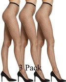 3 of Womens Fishnet Pantyhose, High Waisted Mesh Stockings, Black, One Size