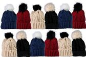 12 of Unisex Warm Winter Hats In Assorted Solid Colors,Pom Ribbed Beanies